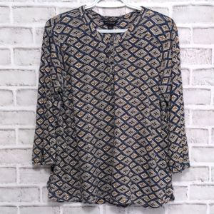 Lucky Brand Boho Long Sleeve Button Top Size Large
